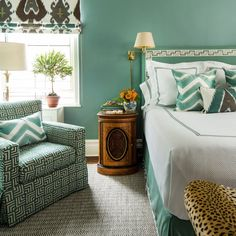Ocean-Colored Blue Bedroom