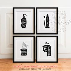Bathroom Art Set PRINTABLES, Wash Brush Floss Flush, Bathroom Decor,bathroom  Wall Art