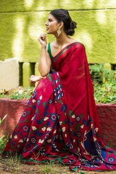 Red Crepe Kalamkari Printed Saree