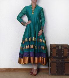 Green Silk Anarkali