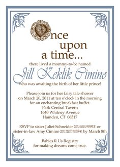 Lovely Once Upon A Time Baby Shower Invitation