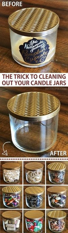 DIY: How to get wax out of candle jars! This easy trick takes hardly any effort … – Neue Deko-Ideen DIY: How to get wax out of candle jars! This easy trick takes hardly any effort … Related posts:Kreative Kommandozentren - besten … Diy Cleaning Products, Cleaning Hacks, Daily Cleaning, Household Cleaning Tips, Hacks Diy, Cleaning Solutions, Diy Décoration, Diy Crafts, Crafts Cheap