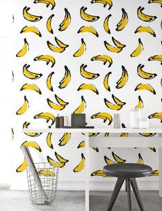 Banana Wallpaper, Removable Wallpaper, Self-adhesive Wallpaper, Unique Wallcovering, Jungle Wall Décor, Jungle Wallcovering - JW_101 by Jumanjii on Etsy https://www.etsy.com/listing/455106180/banana-wallpaper-removable-wallpaper