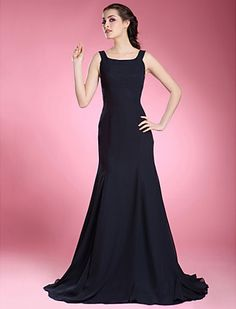 Trumpet/ Mermaid Scoop Sweep/ Brush Train Chiffon Mother of the Bride Dress - USD $ 89.69