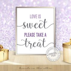 Lavender wedding dessert sign Love is sweet please take a treat candy buffet sign sweets table purple theme bridal shower DIGITAL by HandsInTheAttic