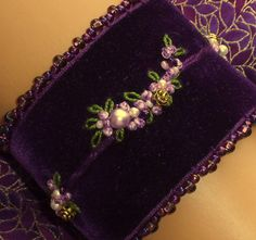 Hand Embroidered Victorian Wrist Cuff - Purple Velvet from Whispers Of Hope
