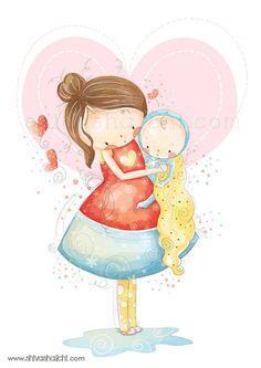 Illustrazione di bambini - baby e mummia amano coccolare di ShivaIllustrations su Etsy https://www.etsy.com/it/listing/152398180/illustrazione-di-bambini-baby-e-mummia