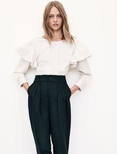 7e60b426 urbnite Bluse Outfit, Sasha Pivovarova, Winter Fashion, Spring Fashion  Trends, Zara Fashion