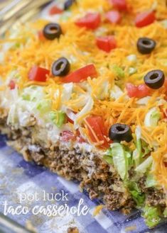 Delicious Taco Casserole that has a meat and biscuit base (sub out bells biscuits )and is topped with sour cream, lettuce, tomatoes, cheese and olives. Casserole Taco, Casserole Dishes, Taco Casserole With Tortillas, Doritos Chicken Casserole, Mexican Lasagna With Tortillas, Taco Cornbread Casserole, Easy Taco Bake, Taco Salads, Taco Salad Recipes