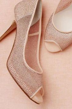 NUDE Wedding Shoe - Sterling Peep-Toes