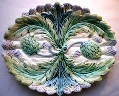 Rare OLD French Majolica Dish Asparagus AND Artichokes Luneville 1880 1900 | eBay