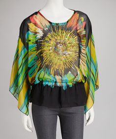 Black Sheer Sunflower Drape-Sleeve Top by Young Threads