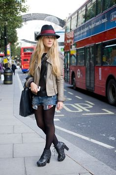 """Greta Zaveckaite, fashion design student    """"I'm wearing a Topshop hat with a River Island jacket, a Zara top and shorts, Kurt Geiger shoes and a bag from eBay."""""""