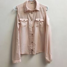 Pink chiffon shoulderless blouse long sleeved gold Gold metal accents. Some discoloration in metal as shown in pictures. Size medium. Make an offer :) no stains etc Tops Blouses