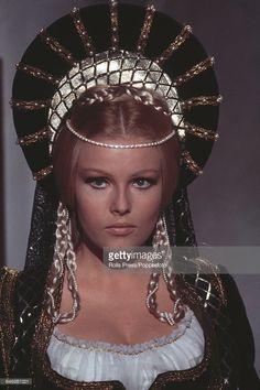 Czech born actress Olga Schoberova (Olinka Berova) pictured in costume as Lucrezia Borgia during production of the film 'Lucrezia' in Rome, Italy on May Lucrezia Borgia, 60s And 70s Fashion, Sci Fi Horror, Fantasy Movies, Photos, Pictures, Actors, Sculpture, Costumes