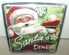 Sold!!  Prima #Design Santa's #Diner Coasters NWOT Set of 4 #Snowman Candy Cane Reindeer