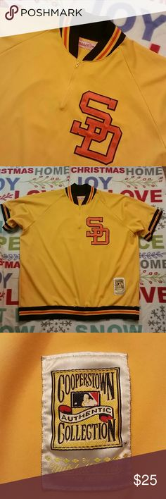 "Mitchell & Ness Tony Gwynn San Diego Padres Jersey Couple light spots on front by zipper as seen in pic.Half zip MLB Jersey. A good buy. 31.5""from top to bottom. 29""armpit to armpit. Mitchell & Ness Shirts"