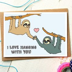 Valentines Day Card  Valentines Card  Sloth by FinchandtheFallow