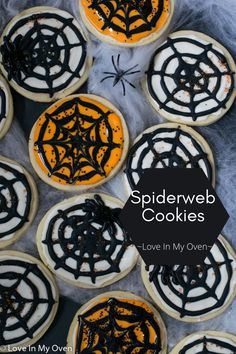 These easy cream cheese cookies are made a little extra fun by turning them into spiderweb cookies! They're easy Halloween cookies that are sure to delight! // easy Halloween cookies // Halloween spider cookies // cream cheese Halloween recipes
