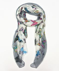Look at this Gray Butterfly Scarf on #zulily today!