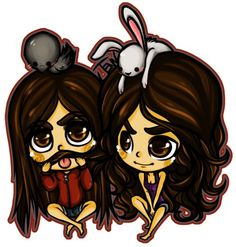 Elena Gilbert and Katherine Pierce (with Raven [Damon] and Bunny [Stefan]) Elena Gilbert, Werewolf Hunter, Vampire Love, What To Draw, Kawaii, Vampire Diaries The Originals, Delena, Chibi, Fan Art