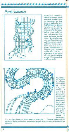 Bobbin lace in italian Bilros/birros em italiano Encaje de bolillos Tombolo Tunisian Crochet Patterns, Bobbin Lace Patterns, Crochet Diagram, Lace Knitting, Knitting Stitches, Crochet Lace, Knitting Machine, Crochet Granny, Bobbin Lacemaking
