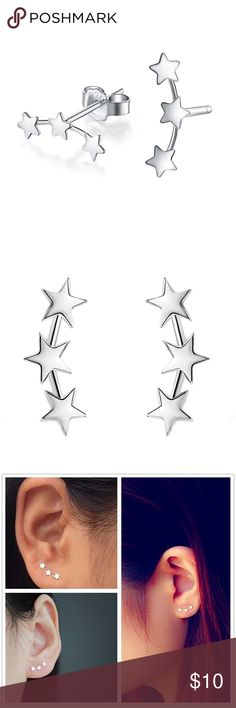 Silver Three Star Stud Earrings Buy any two Jewelry Get the 3rd one free❤️❤️ Prices will depend the highest two- For example ' if you pick jewelry $10,$11 and $9, the prices will be 10+ 11= 21 and you will get the 9 dollars jewelry free, limited in stock, today only ❤️❤️ simply add the items you like in a bundles and i will give you the right offer, or simply leave me a comment on the items you want =) Jewelry Earrings