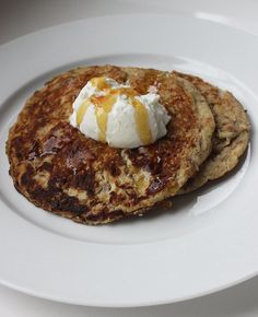 Pin for Later: 200+ Healthy Recipes For Every Meal of the Day Grain-Free Protein Pancakes This pancake recipe offers a nice dose of protein and fiber and the carbs come from fruit rather than a refined grain.  Calories (2 pancakes): 373