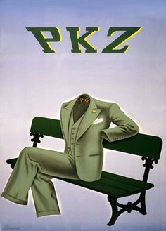 Another empty suit. Advertisement for PKZ clothing. A suit with a PKZ label, for Paul Kehl clothing in Zürich, sits on a bench. Vintage Swiss ad, circa 1930s. Illustrated by Charles Kuhn.