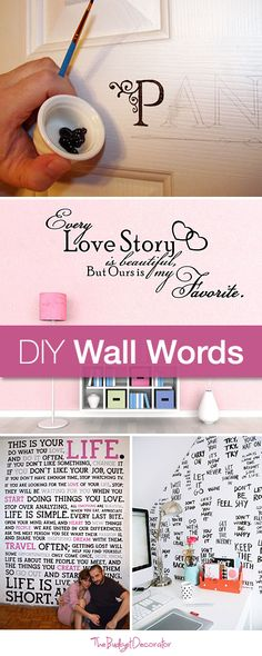 Furniture Layouts With The Lake House Diy Wall Words Tutorials And Ideas Diy Projects To Try, Home Projects, Craft Projects, Ideias Diy, Home And Deco, Diy Wall Art, Pottery Barn, Diy Home Decor, Diy And Crafts