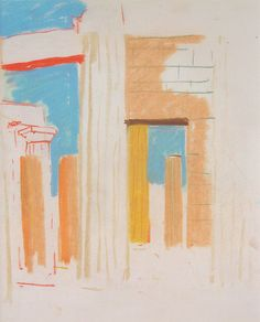 Louis Kahn (American, born Estonia, 1901–1974), Propylaia, Acropolis, Athens, Greece, 1951, pastel on paper, 11 1/2 x 9 1/2 inches. Collection of Middlebury College Museum of Art. Purchase with funds provided by the Walter Cerf Art Fund, 2011.020.