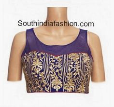 Designer Blouse with Net Back Neck ~ Celebrity Sarees, Designer Sarees, Bridal Sarees, Latest Blouse Designs 2014