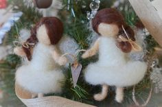 Sisters/Friends are Forever Needle Felted ANGELS Connected with Burlap Twine and Heart Set on Etsy, $50.00