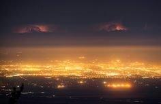 Lightening storm in the clouds above Bakersfield California