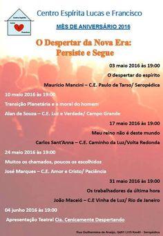 Centro Espírita Lucas e Francisco Convida para as Palestras Públicas no mês do seu Aniversário 2016 - Seropédica - RJ - http://www.agendaespiritabrasil.com.br/2016/05/06/centro-espirita-lucas-e-francisco-convida-para-as-palestras-publicas-no-mes-do-seu-aniversario-2016-seropedica-rj/