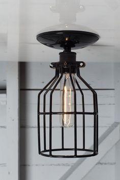 Industrial Lights - Industrial Lighting - Black Cage Light - Ceiling Mount