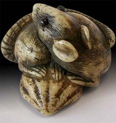 19th Century Carved Zodiac Rat Antler Netsuke Unsigned