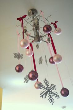 hot pink and grey winter snowflake baby shower christmas ornament decorations diy chandelier