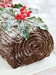 Christmas Chocolate Yule Log: Get creative with a festive log that's made for eating, decked out in chocolate and sugar. Nothing says Christmas more than a easy to decorate Yule Log cake. Find more ea(Christmas Chocolate Ideas) Christmas Lunch, Christmas Sweets, Christmas Cooking, Noel Christmas, Holiday Desserts, Christmas Cakes, Christmas Foods, Traditional Christmas Desserts, Retro Christmas