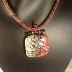 Weathered - Polymer Clay Pendant on viking knit rope and custom bail