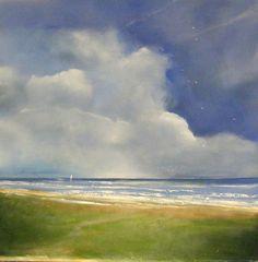 Nov 12 Seascape Ocean Beach Fluffy Clouds Original Painting 18x18 -- Toni Grote