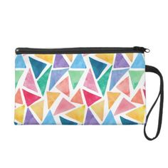 #Watercolor Geometric Triangles Colorful Mosaic Wristlet Purse - #trendy #gifts #template