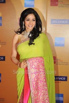 Sridevi is back again on the scenes in Manish Malhotra apple green sari with the pink border. If you like this look, try it for yourself!