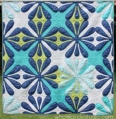 Hawaiian Quilt | Applique Quilt | Modern Hawaiian Quilt | Needle Turn Applique | Modern Quilt | Big Island Blossoms quilt by Sheri CIfaldi-Morrill, Whole Circle Studio