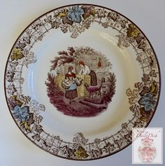 Spode Byron Copeland Brown Transferware Plate Farm Dog Chickens Vintage English c 1927-37 Hand Painted