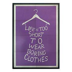 Affiche imprimée encadrée Life Is Too Short  violet et gris   50 x 70 x 1,6 cm