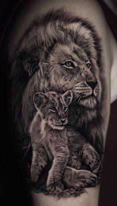 50 Eye-Catching Lion Tattoos That'll Make You Want To Get Inked - KickAss Things Lion Cub Tattoo, Small Lion Tattoo, Cubs Tattoo, Lion Head Tattoos, Lioness Tattoo, Mens Lion Tattoo, Lion Tattoo Design, Cool Forearm Tattoos, Dog Tattoos