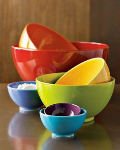 rainbow mixing bowls #kitchen