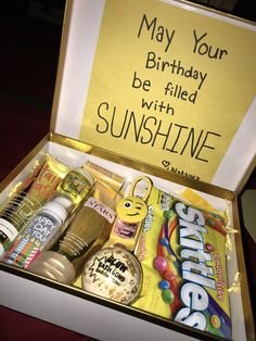 sunshine birthday box and crafts gift basket Awesome Christmas Gift Basket. sunshine birthday box and crafts gift basket Awesome Christmas Gift Basket Ideas for Friends - Box of Sunshine Birthday Presents For Friends, Cute Birthday Gift, Birthday Gift Baskets, Diy Gifts For Friends, Unique Birthday Gifts, Birthday Gifts For Girlfriend, Birthday Diy, Cute Presents For Girlfriend, Best Friend Birthday Basket