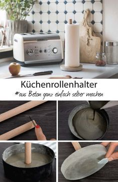 Make DIY kitchen roll holder out of concrete yourself! manualConcrete Deco DIY - pour concrete deco - so you make yourself a kitchen roll holder made of concreteMake a minimalist concrete clockDIY Concrete Clock Concrete Crafts, Concrete Projects, Diy Home Decor Projects, Diy Projects To Try, Decor Crafts, Diy Kitchen Roll Holders, Pot Mason Diy, Cocina Diy, Diy Hanging Shelves